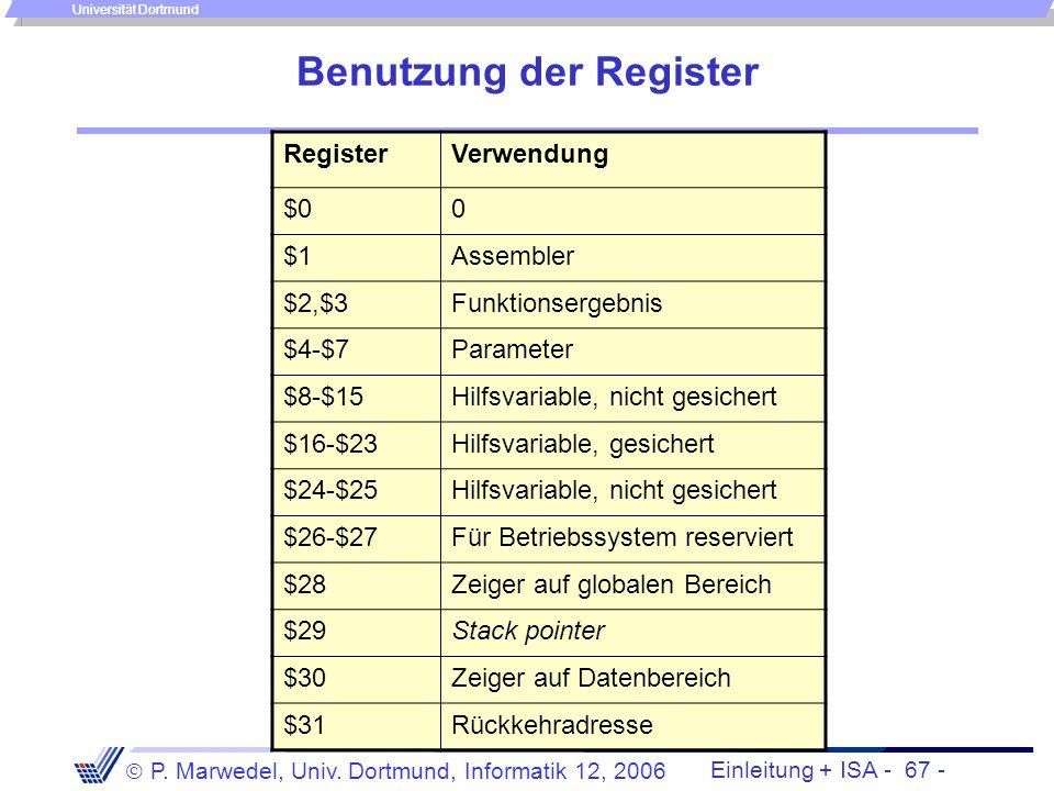 Einleitung + ISA - 66 - P. Marwedel, Univ. Dortmund, Informatik 12, 2006 Universität Dortmund 4.2.1.7 Prozeduren mit Parametern int stund2sec(int stun