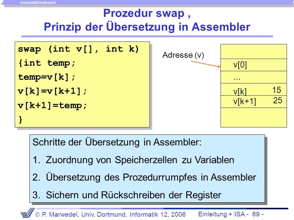 Einleitung + ISA - 68 - P. Marwedel, Univ. Dortmund, Informatik 12, 2006 Universität Dortmund Call by value vs. call by reference An Prozeduren Parame