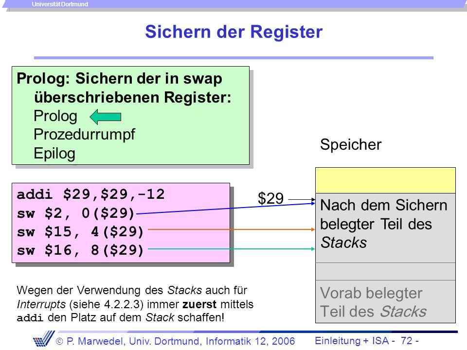 Einleitung + ISA - 71 - P. Marwedel, Univ. Dortmund, Informatik 12, 2006 Universität Dortmund Realisierung des Rumpfes add $2,$4,$5 #Adresse(v[k]) ? l