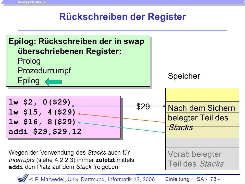 Einleitung + ISA - 72 - P. Marwedel, Univ. Dortmund, Informatik 12, 2006 Universität Dortmund Sichern der Register Prolog: Sichern der in swap übersch