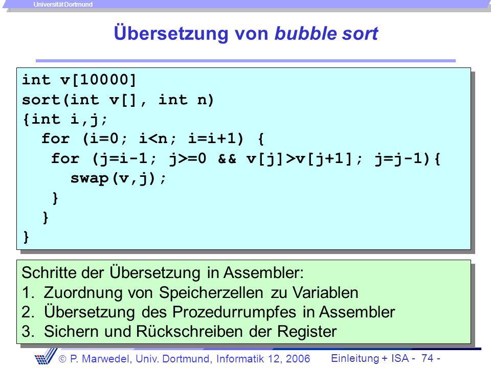 Einleitung + ISA - 73 - P. Marwedel, Univ. Dortmund, Informatik 12, 2006 Universität Dortmund Rückschreiben der Register Epilog: Rückschreiben der in
