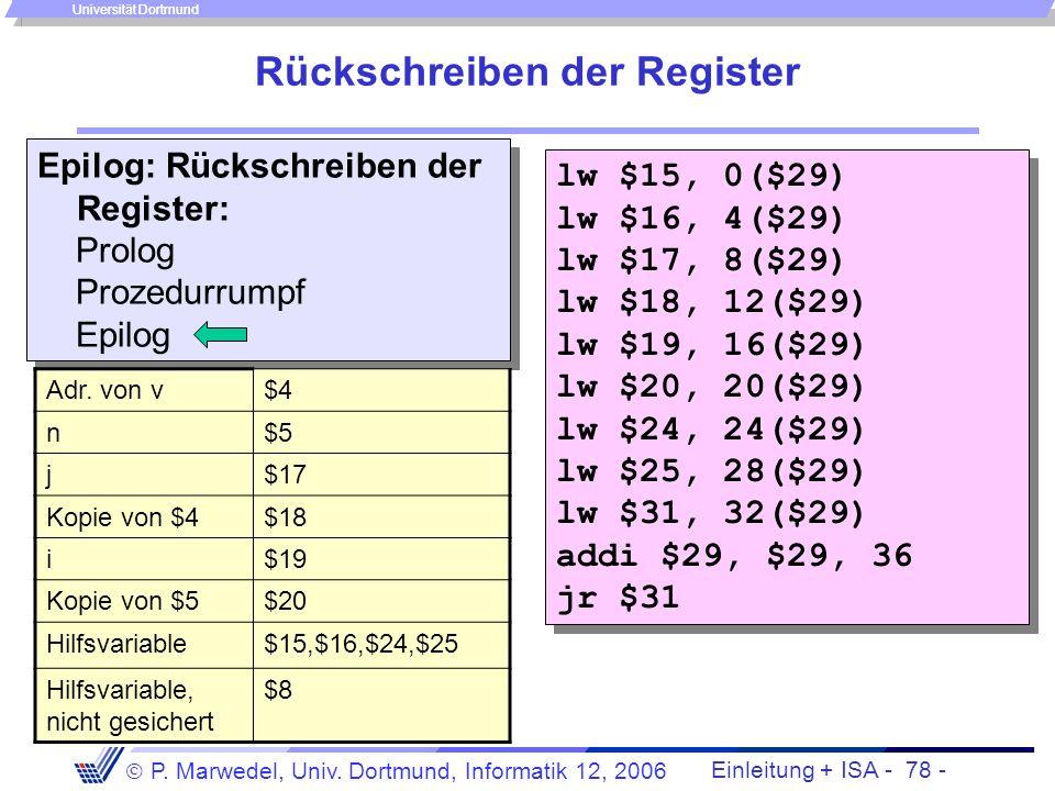 Einleitung + ISA - 77 - P. Marwedel, Univ. Dortmund, Informatik 12, 2006 Universität Dortmund Sichern der Register Prolog: Sichern der über- schrieben