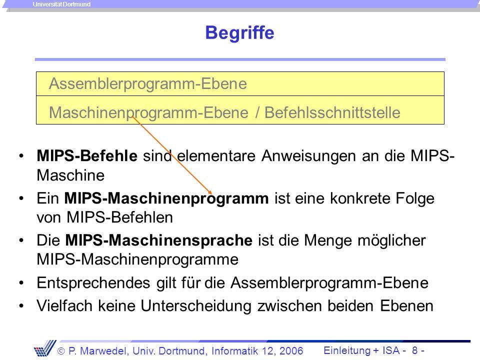 Einleitung + ISA - 7 - P. Marwedel, Univ. Dortmund, Informatik 12, 2006 Universität Dortmund 4.2 Die Befehlsschnittstelle 4.2.1 Der MIPS-Befehlssatz B