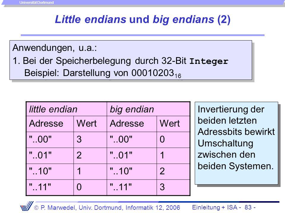 Einleitung + ISA - 82 - P. Marwedel, Univ. Dortmund, Informatik 12, 2006 Universität Dortmund Little endians und big endians (1) 1.Little endians: der