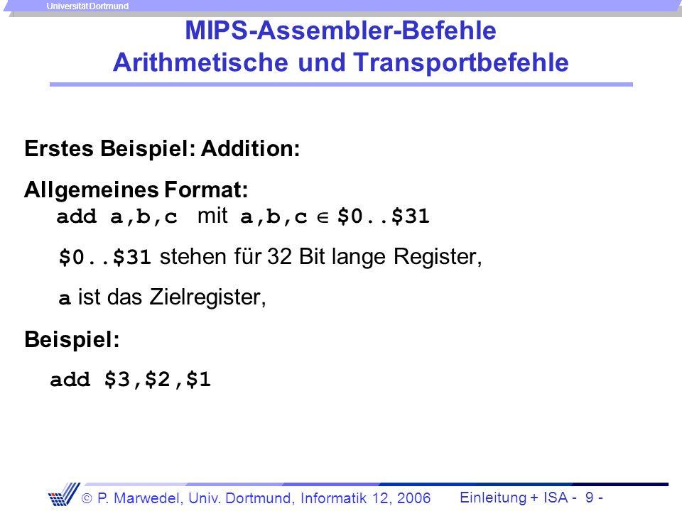 Einleitung + ISA - 8 - P. Marwedel, Univ. Dortmund, Informatik 12, 2006 Universität Dortmund Begriffe MIPS-Befehle sind elementare Anweisungen an die