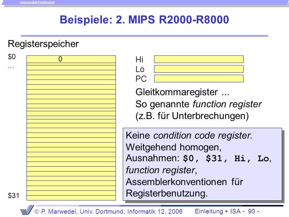 Einleitung + ISA - 89 - P. Marwedel, Univ. Dortmund, Informatik 12, 2006 Universität Dortmund Master stack pointer Interrupt stack pointer Beispiele: