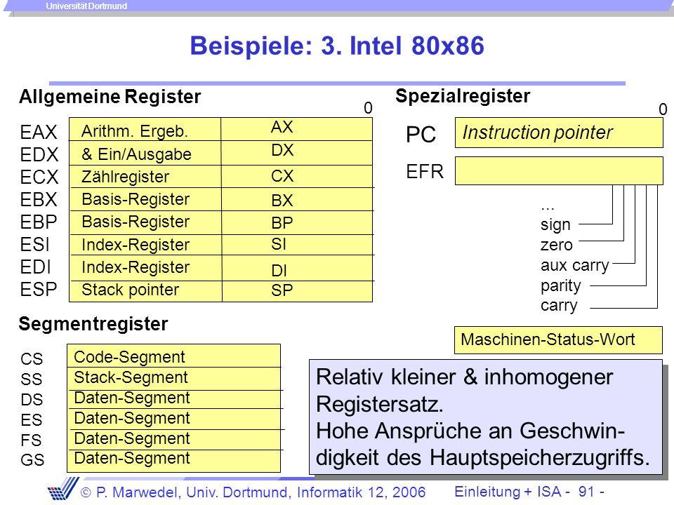 Einleitung + ISA - 90 - P. Marwedel, Univ. Dortmund, Informatik 12, 2006 Universität Dortmund Beispiele: 2. MIPS R2000-R8000 Registerspeicher $0... $3