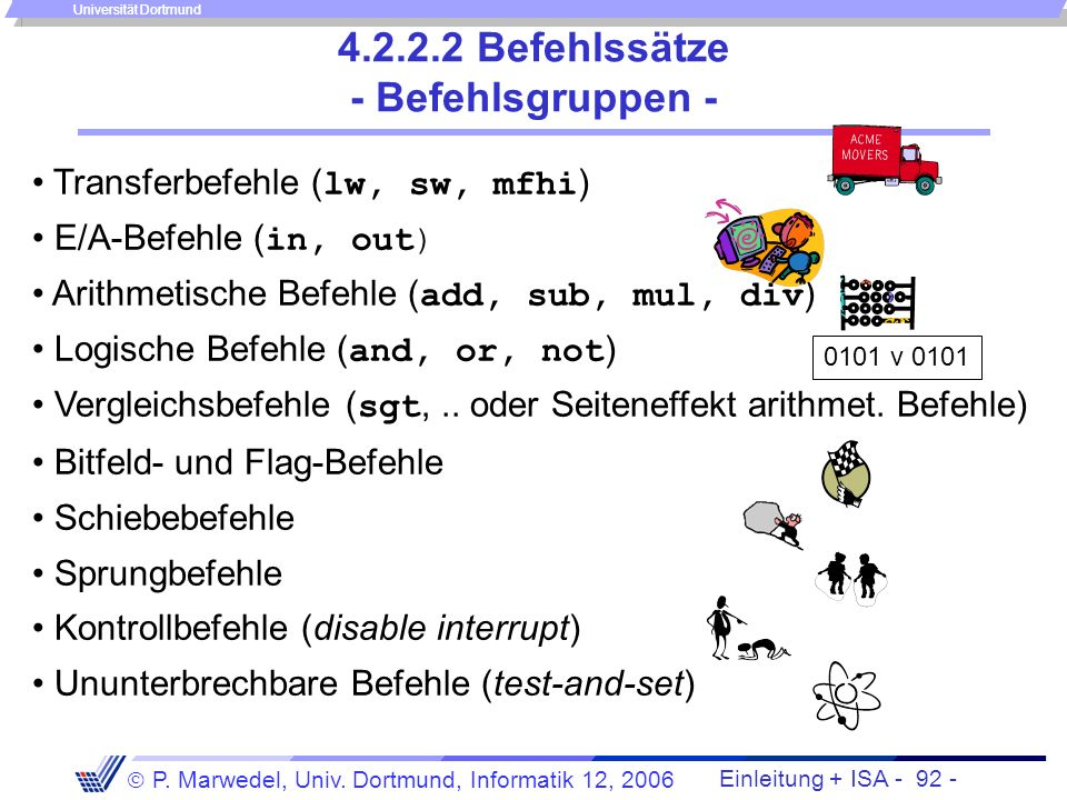 Einleitung + ISA - 91 - P. Marwedel, Univ. Dortmund, Informatik 12, 2006 Universität Dortmund Beispiele: 3. Intel 80x86 Allgemeine Register Arithm. Er