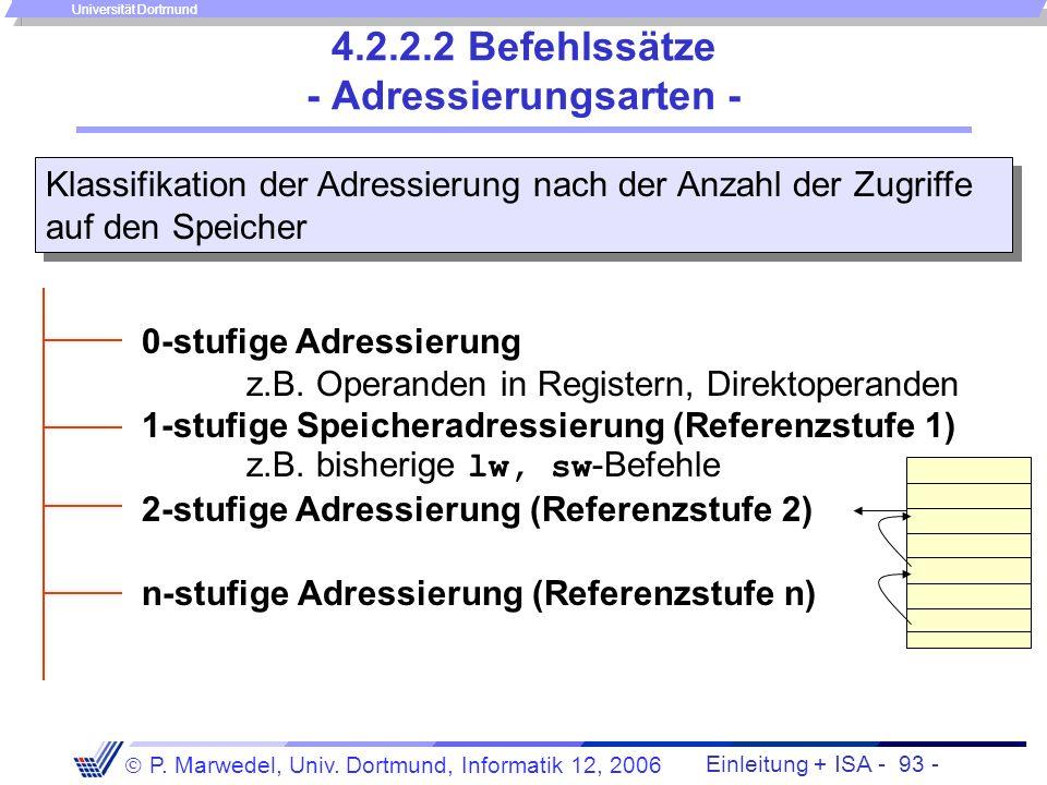 Einleitung + ISA - 92 - P. Marwedel, Univ. Dortmund, Informatik 12, 2006 Universität Dortmund 4.2.2.2 Befehlssätze - Befehlsgruppen - Transferbefehle