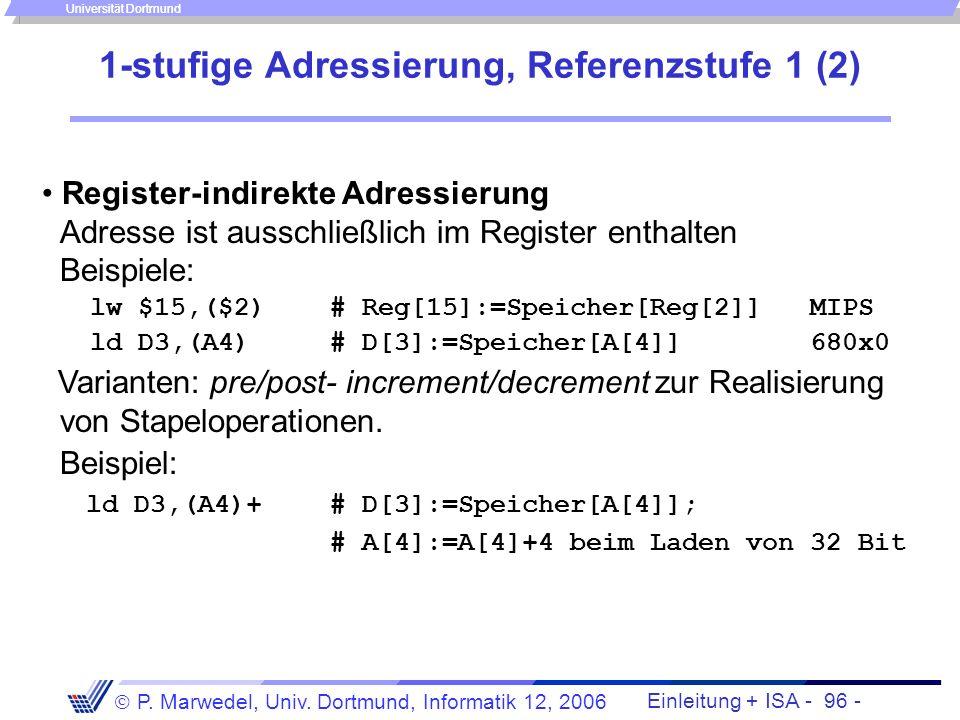 Einleitung + ISA - 95 - P. Marwedel, Univ. Dortmund, Informatik 12, 2006 Universität Dortmund 1-stufige Adressierung, Referenzstufe 1 (1) Genau 1 Zugr