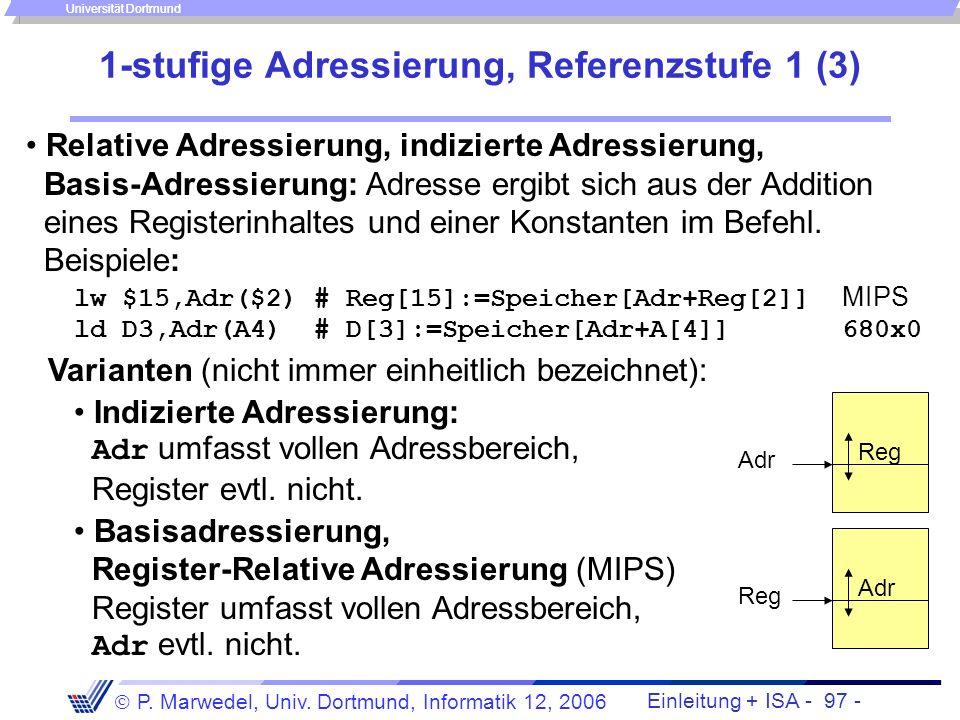 Einleitung + ISA - 96 - P. Marwedel, Univ. Dortmund, Informatik 12, 2006 Universität Dortmund 1-stufige Adressierung, Referenzstufe 1 (2) Register-ind