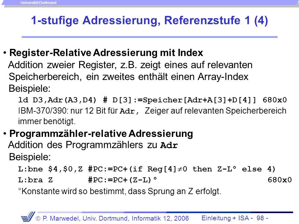 Einleitung + ISA - 97 - P. Marwedel, Univ. Dortmund, Informatik 12, 2006 Universität Dortmund 1-stufige Adressierung, Referenzstufe 1 (3) Relative Adr