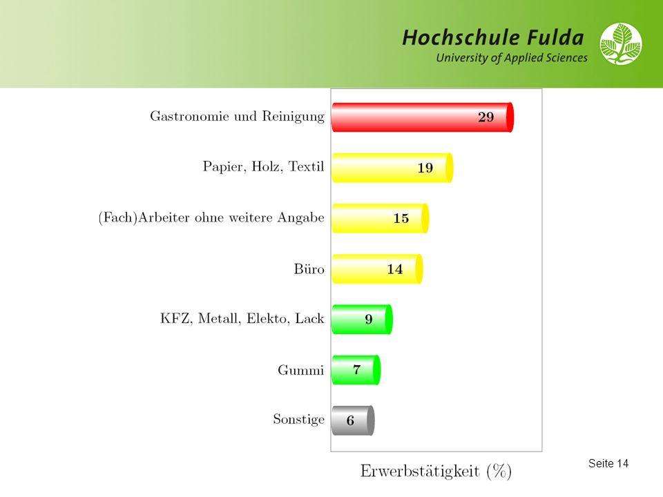 Seite 13 Beruf Die aktuelle Beschäftigung der befragten Migrant(inn)en steht im Gegensatz zu der Varianz der beruflichen Ausbildungen: Konzentration auf folgende Bereiche Gastronomie und Reinigung (29 %) Papier/Holz/Textil (19 %)