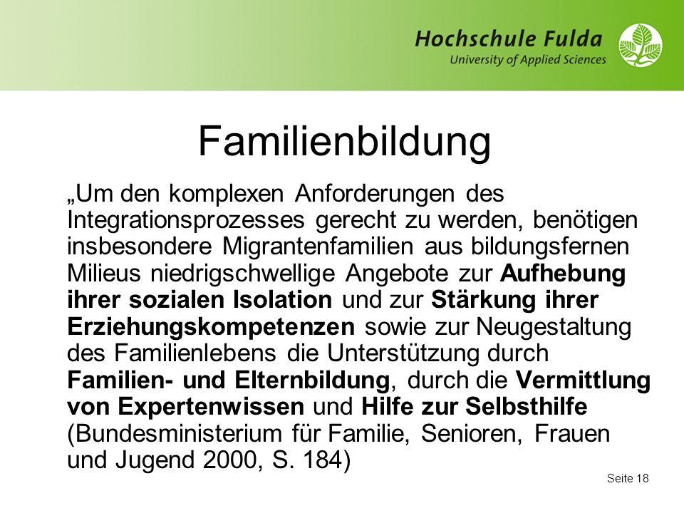 Seite 17 Kommunale Integrationsstrategien mit Blick auf die Familienbildung