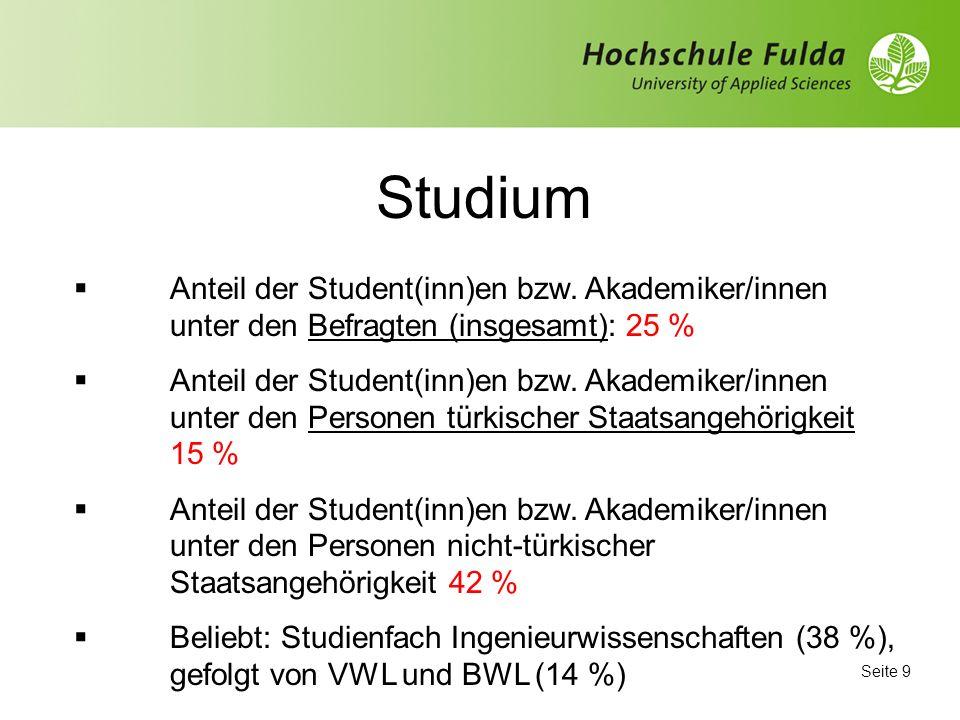 Seite 9 Studium Anteil der Student(inn)en bzw.
