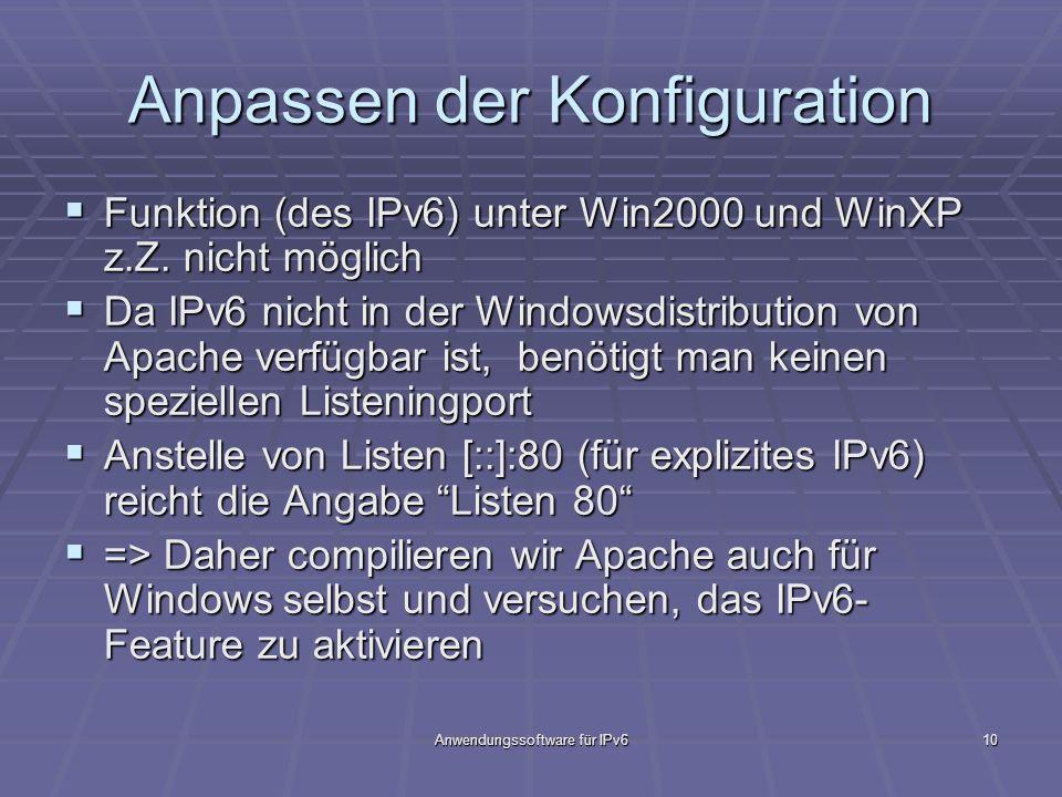 Anwendungssoftware für IPv610 Anpassen der Konfiguration Funktion (des IPv6) unter Win2000 und WinXP z.Z. nicht möglich Funktion (des IPv6) unter Win2