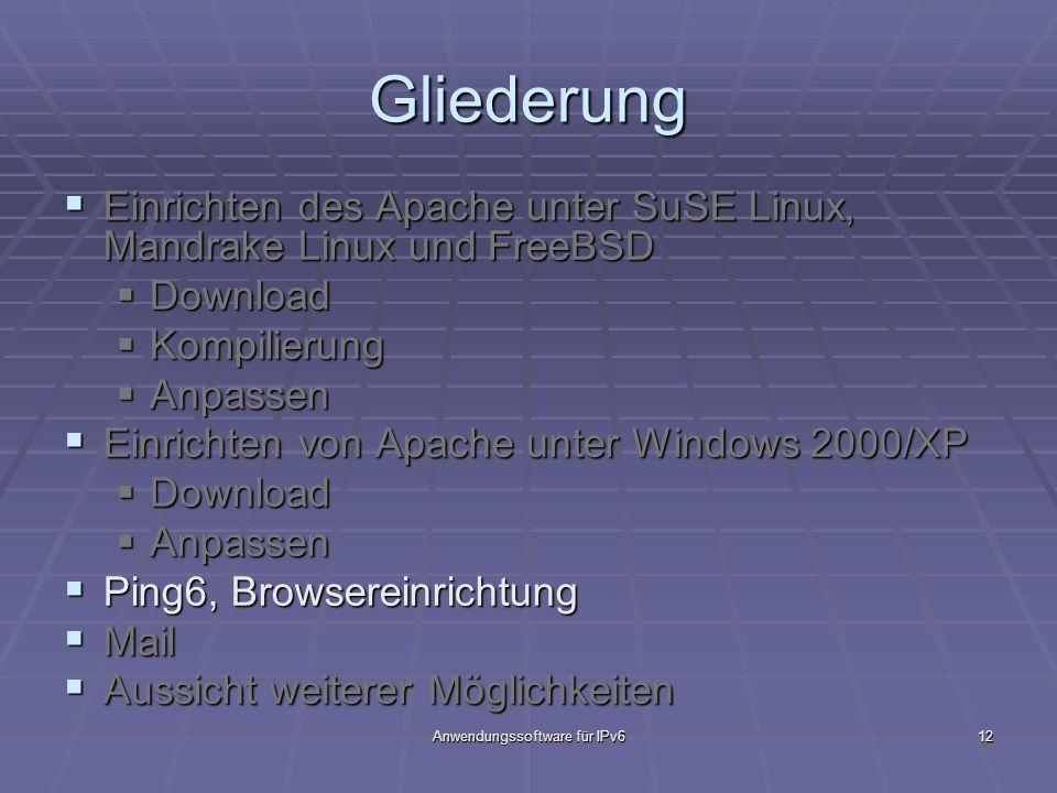 Anwendungssoftware für IPv612 Gliederung Einrichten des Apache unter SuSE Linux, Mandrake Linux und FreeBSD Einrichten des Apache unter SuSE Linux, Ma