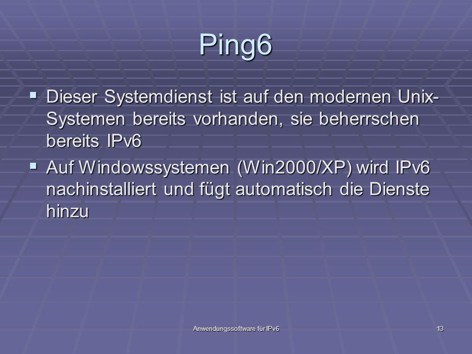Anwendungssoftware für IPv613 Ping6 Dieser Systemdienst ist auf den modernen Unix- Systemen bereits vorhanden, sie beherrschen bereits IPv6 Dieser Sys