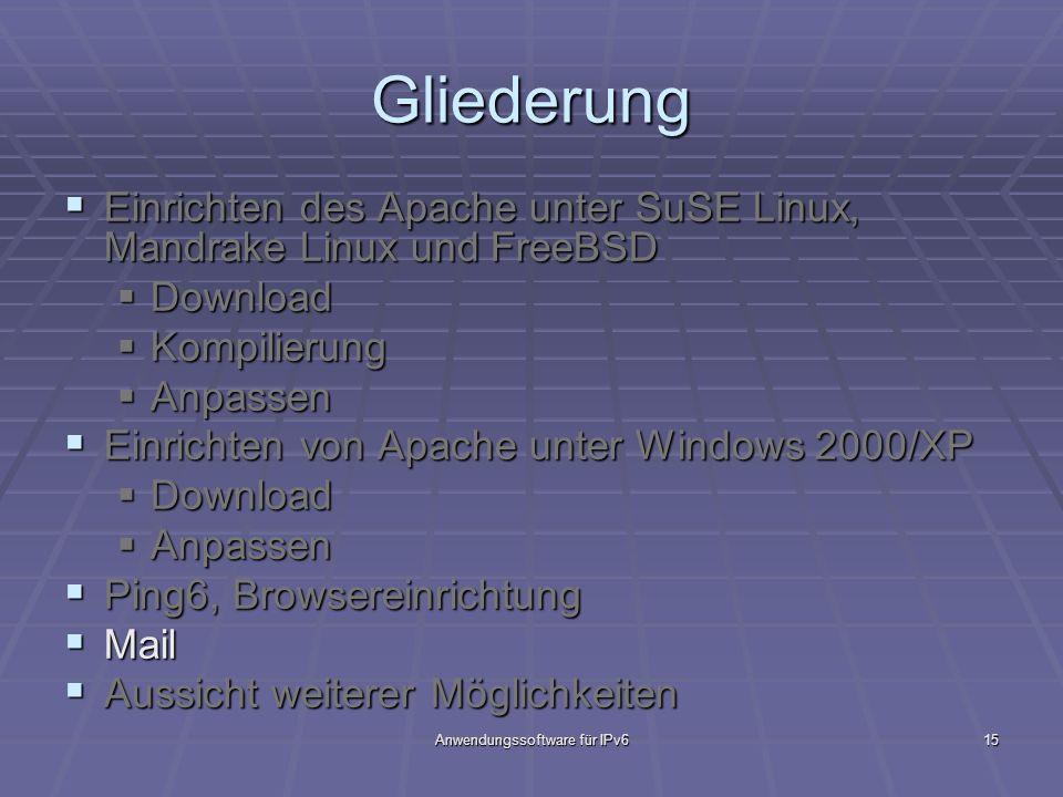Anwendungssoftware für IPv615 Gliederung Einrichten des Apache unter SuSE Linux, Mandrake Linux und FreeBSD Einrichten des Apache unter SuSE Linux, Ma