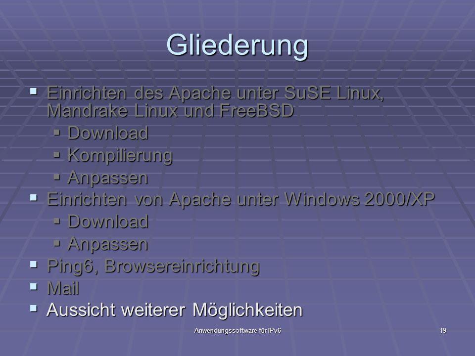 Anwendungssoftware für IPv619 Gliederung Einrichten des Apache unter SuSE Linux, Mandrake Linux und FreeBSD Einrichten des Apache unter SuSE Linux, Ma