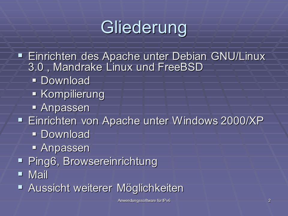 Anwendungssoftware für IPv62 Gliederung Einrichten des Apache unter Debian GNU/Linux 3.0, Mandrake Linux und FreeBSD Einrichten des Apache unter Debia