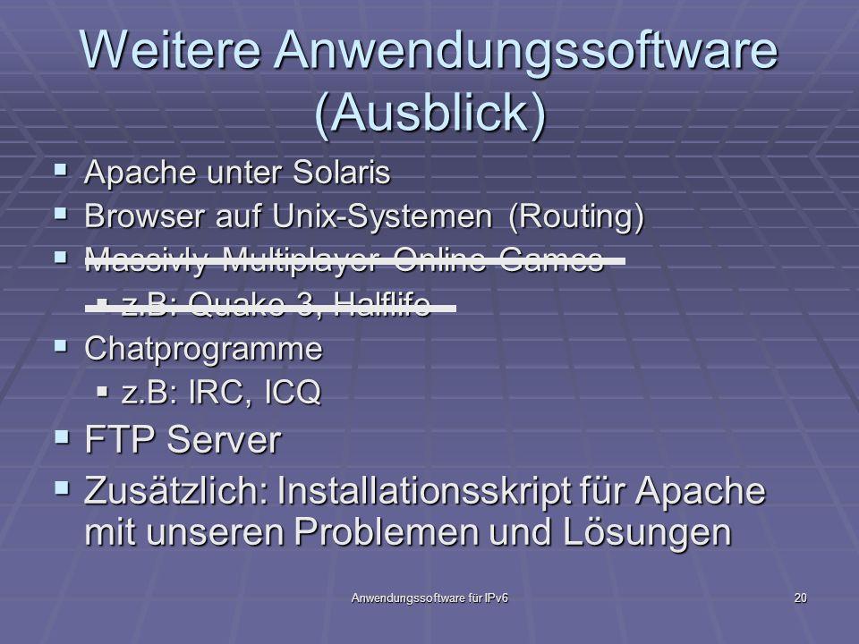 Anwendungssoftware für IPv620 Weitere Anwendungssoftware (Ausblick) Apache unter Solaris Apache unter Solaris Browser auf Unix-Systemen (Routing) Brow