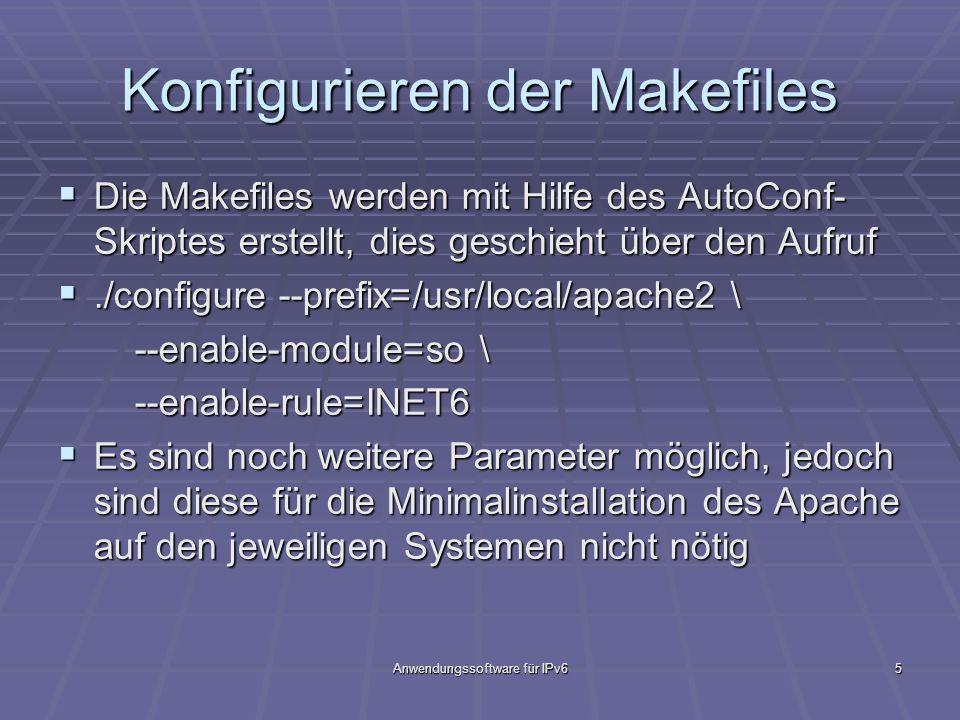 Anwendungssoftware für IPv65 Konfigurieren der Makefiles Die Makefiles werden mit Hilfe des AutoConf- Skriptes erstellt, dies geschieht über den Aufru