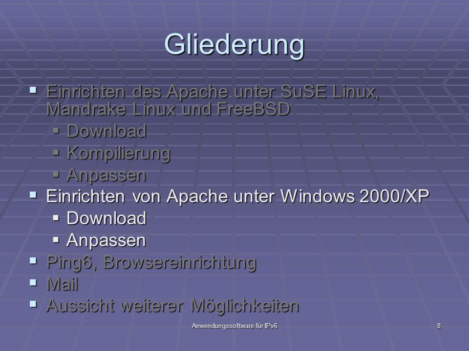 Anwendungssoftware für IPv68 Gliederung Einrichten des Apache unter SuSE Linux, Mandrake Linux und FreeBSD Einrichten des Apache unter SuSE Linux, Man