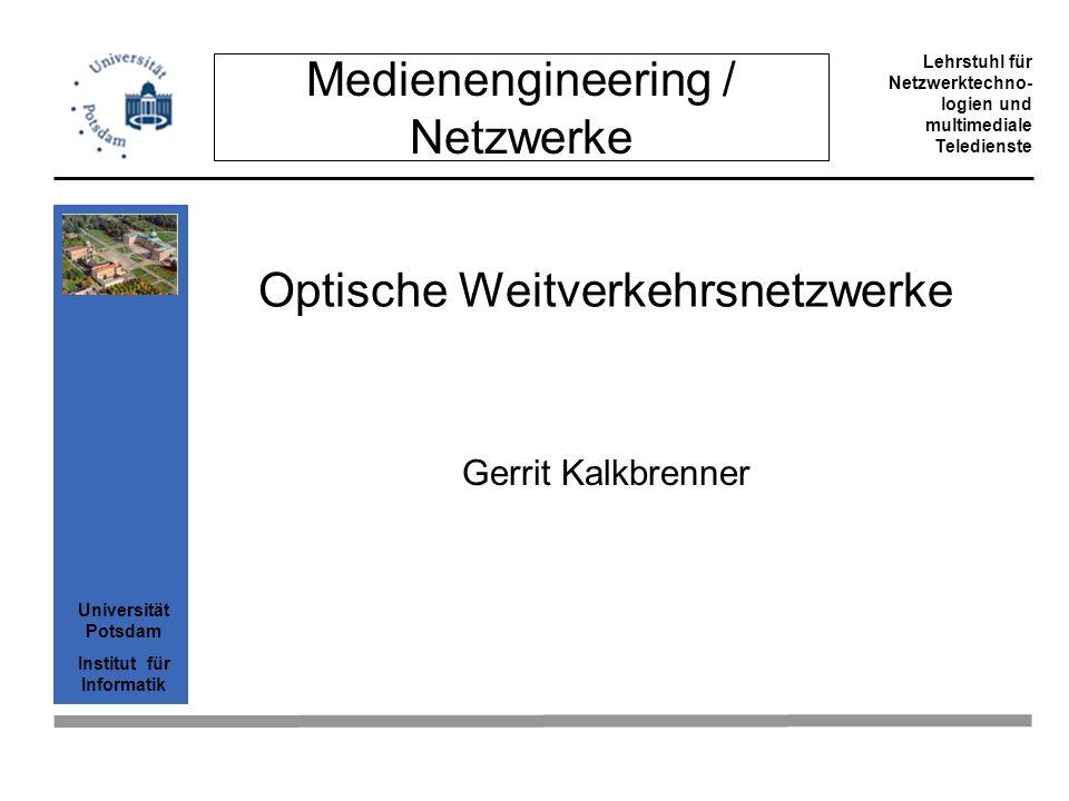 Universität Potsdam Institut für Informatik Lehrstuhl für Netzwerktechno- logien und multimediale Teledienste 2 Gliederung Einleitung Veränderte Verkehrsbedingungen Schichten IP über ATM über Sonet über WDM IP über WDM: Gigabit Ethernet framing Beispiel DPT, CA*net 3 Mechanismen für QoS Recovery in optischen Netzwerken Schlußfolgerung