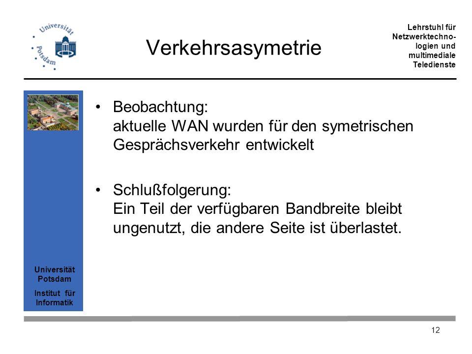 Universität Potsdam Institut für Informatik Lehrstuhl für Netzwerktechno- logien und multimediale Teledienste 12 Verkehrsasymetrie Beobachtung: aktuel