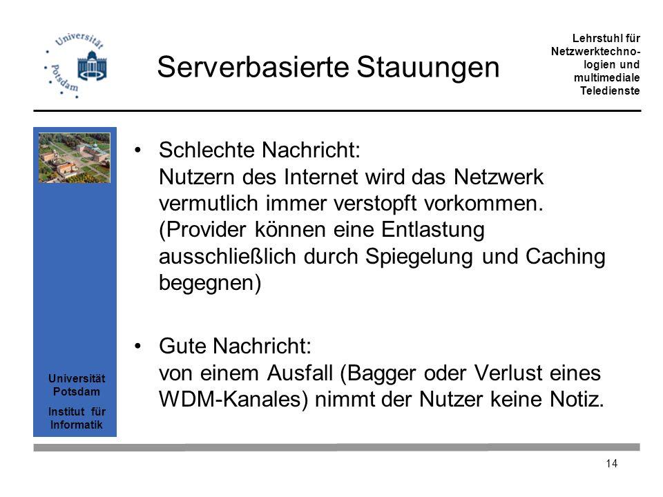 Universität Potsdam Institut für Informatik Lehrstuhl für Netzwerktechno- logien und multimediale Teledienste 14 Serverbasierte Stauungen Schlechte Na