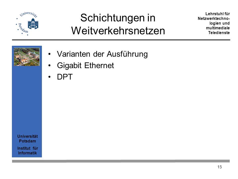 Universität Potsdam Institut für Informatik Lehrstuhl für Netzwerktechno- logien und multimediale Teledienste 15 Schichtungen in Weitverkehrsnetzen Va