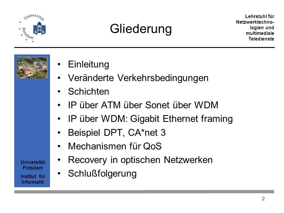 Universität Potsdam Institut für Informatik Lehrstuhl für Netzwerktechno- logien und multimediale Teledienste 33 SDL Framing Payload der Größe 65536 Oktett Header der festen Größe von 4 Byte Paketlänge ist ein 16 Bit Wert Header CRC ist 16 Bit PPP-Paket ohne Padding Füllung zwischen Frames: leere Pakete