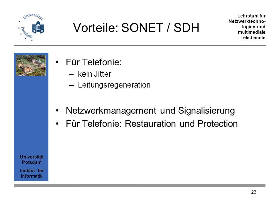 Universität Potsdam Institut für Informatik Lehrstuhl für Netzwerktechno- logien und multimediale Teledienste 23 Vorteile: SONET / SDH Für Telefonie: