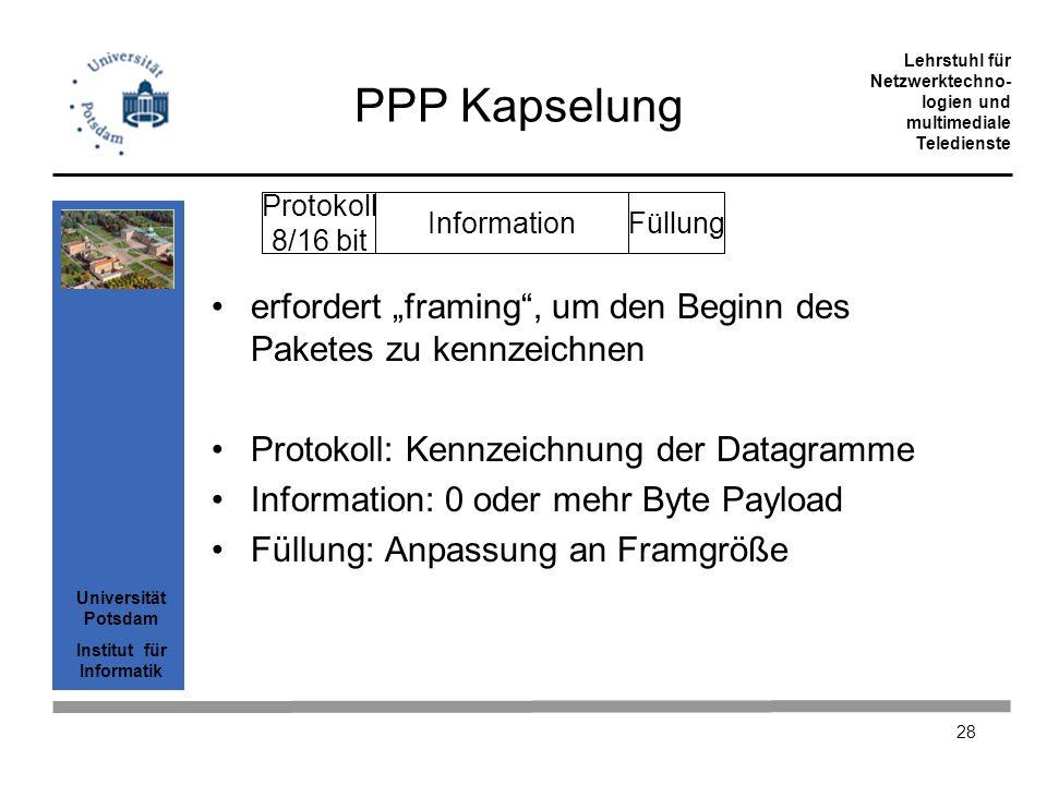 Universität Potsdam Institut für Informatik Lehrstuhl für Netzwerktechno- logien und multimediale Teledienste 28 PPP Kapselung erfordert framing, um d