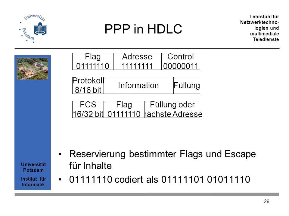 Universität Potsdam Institut für Informatik Lehrstuhl für Netzwerktechno- logien und multimediale Teledienste 29 PPP in HDLC Reservierung bestimmter F