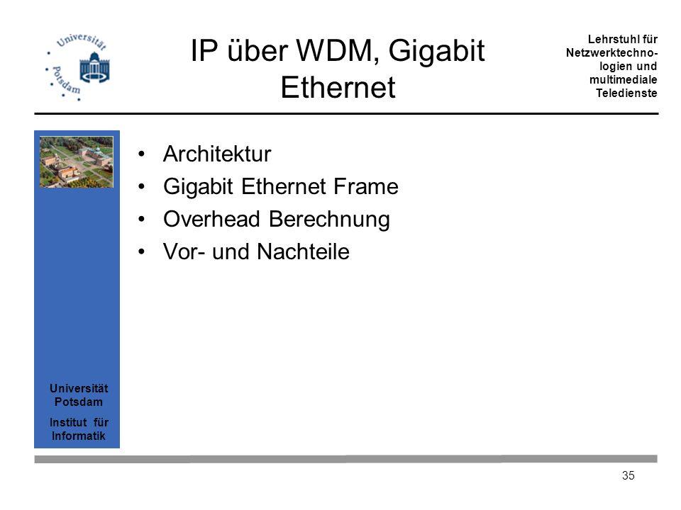 Universität Potsdam Institut für Informatik Lehrstuhl für Netzwerktechno- logien und multimediale Teledienste 35 IP über WDM, Gigabit Ethernet Archite