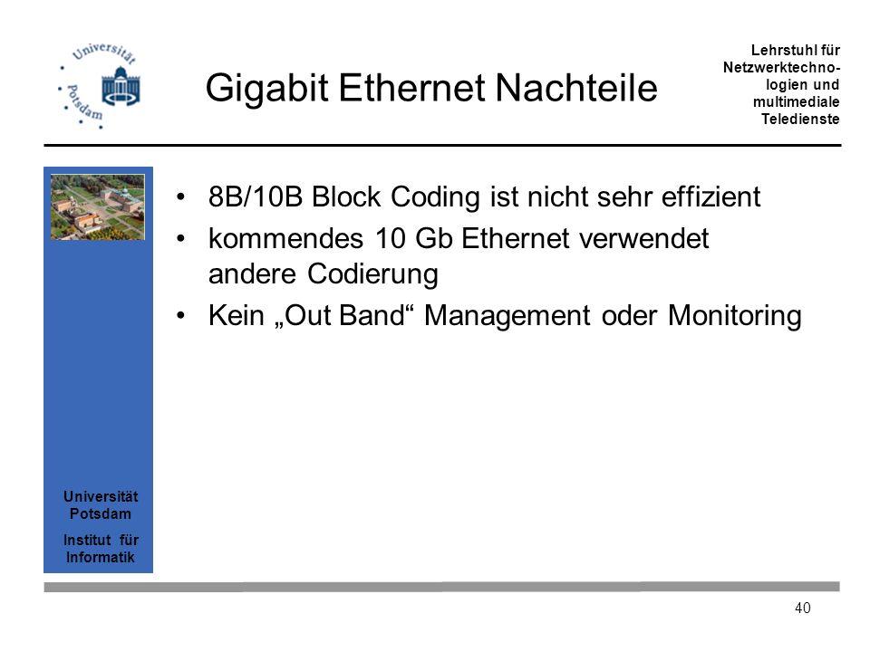 Universität Potsdam Institut für Informatik Lehrstuhl für Netzwerktechno- logien und multimediale Teledienste 40 Gigabit Ethernet Nachteile 8B/10B Blo