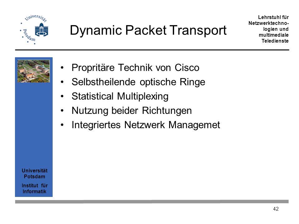 Universität Potsdam Institut für Informatik Lehrstuhl für Netzwerktechno- logien und multimediale Teledienste 42 Dynamic Packet Transport Propritäre T