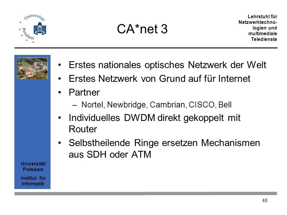 Universität Potsdam Institut für Informatik Lehrstuhl für Netzwerktechno- logien und multimediale Teledienste 48 CA*net 3 Erstes nationales optisches