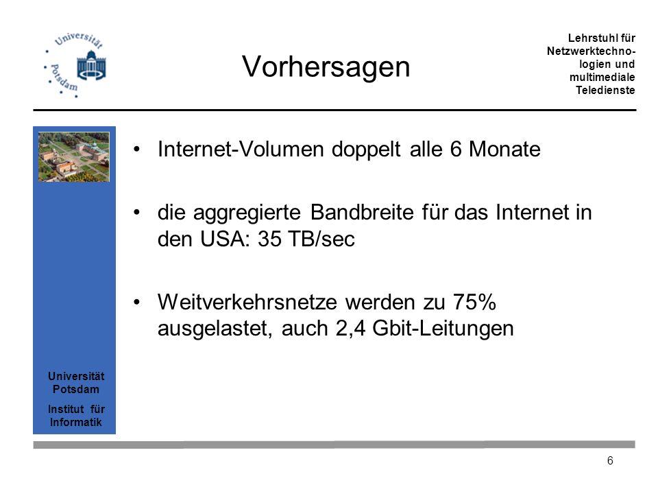 Universität Potsdam Institut für Informatik Lehrstuhl für Netzwerktechno- logien und multimediale Teledienste 17 IP über ATM über SDH IP PAD+CRC ATM-Cellen AAL5 Last ATM-Cellen eingebettet in SDH