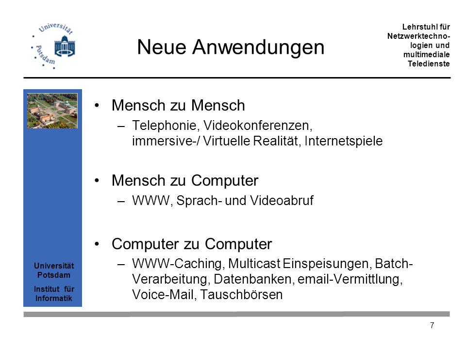 Universität Potsdam Institut für Informatik Lehrstuhl für Netzwerktechno- logien und multimediale Teledienste 7 Neue Anwendungen Mensch zu Mensch –Tel