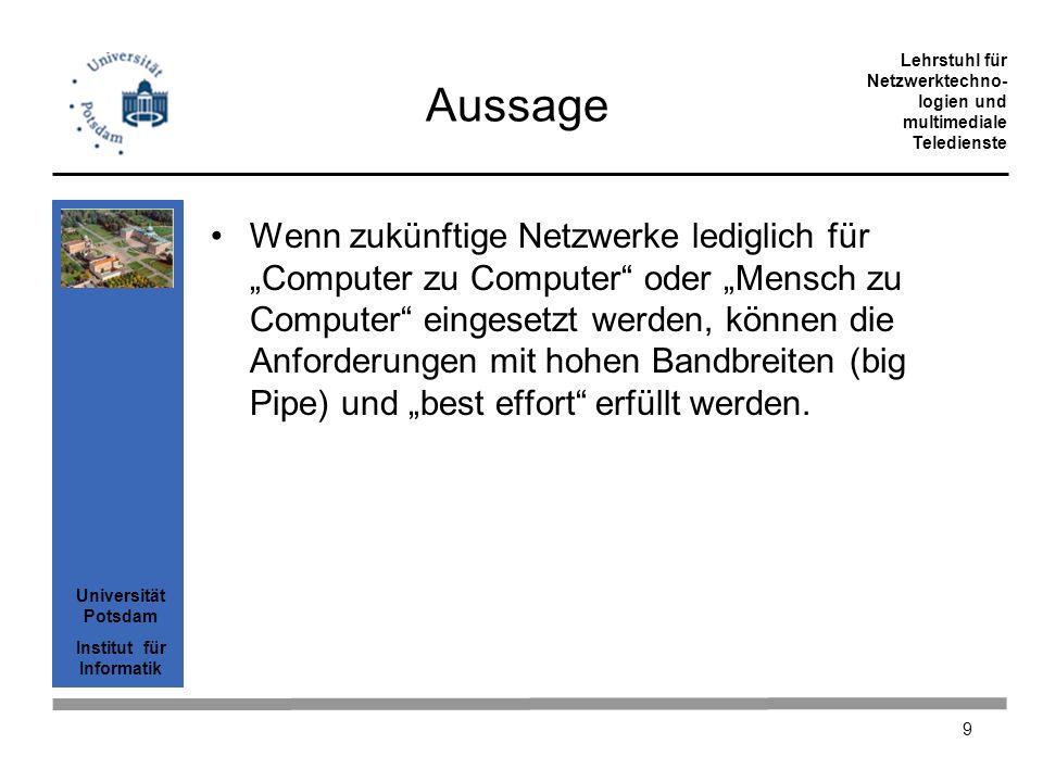 Universität Potsdam Institut für Informatik Lehrstuhl für Netzwerktechno- logien und multimediale Teledienste 20 Overhead von IP über ATM über SDH PaketlängeSum- me Kommentar IP3500% LLC / SNAP 3582%8 octet AAL539010%Füllen der letzten Zelle ATM43119%ATM OH, 5 je 48 SDH44722%SDH STM1(155) bietet 121 MB/sec Kapazität