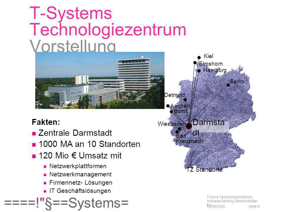 ====! §==Systems= 18/06/2002 T-Nova Technologiezentrum Andreas Gehring, Bereichsleiter E1 Seite 15 Lastmile Technologien xDSL HDSL High Datarate Digital Subscriber Line, HDSL 2: D und U: 1,5-2 Mbit/s (T1 o.