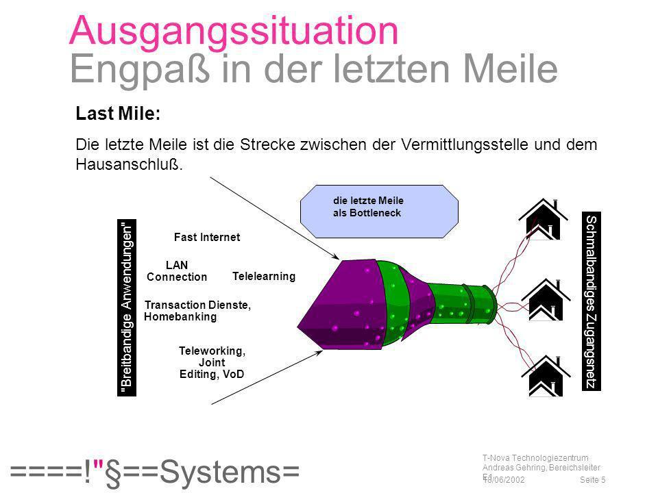====! §==Systems= 18/06/2002 T-Nova Technologiezentrum Andreas Gehring, Bereichsleiter E1 Seite 26 Lastmile Technologien Kabel Einführung ca.