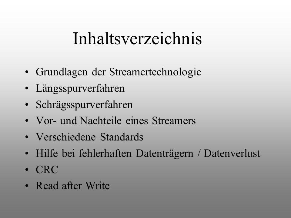 Inhaltsverzeichnis Grundlagen der Streamertechnologie Längsspurverfahren Schrägsspurverfahren Vor- und Nachteile eines Streamers Verschiedene Standards Hilfe bei fehlerhaften Datenträgern / Datenverlust CRC Read after Write