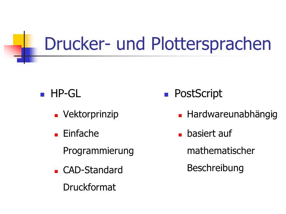 HP-GL Vektorprinzip Einfache Programmierung CAD-Standard Druckformat PostScript Hardwareunabhängig basiert auf mathematischer Beschreibung