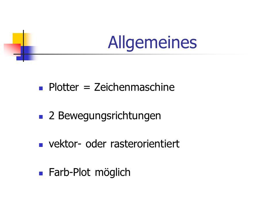 Plotter = Zeichenmaschine 2 Bewegungsrichtungen vektor- oder rasterorientiert Farb-Plot möglich