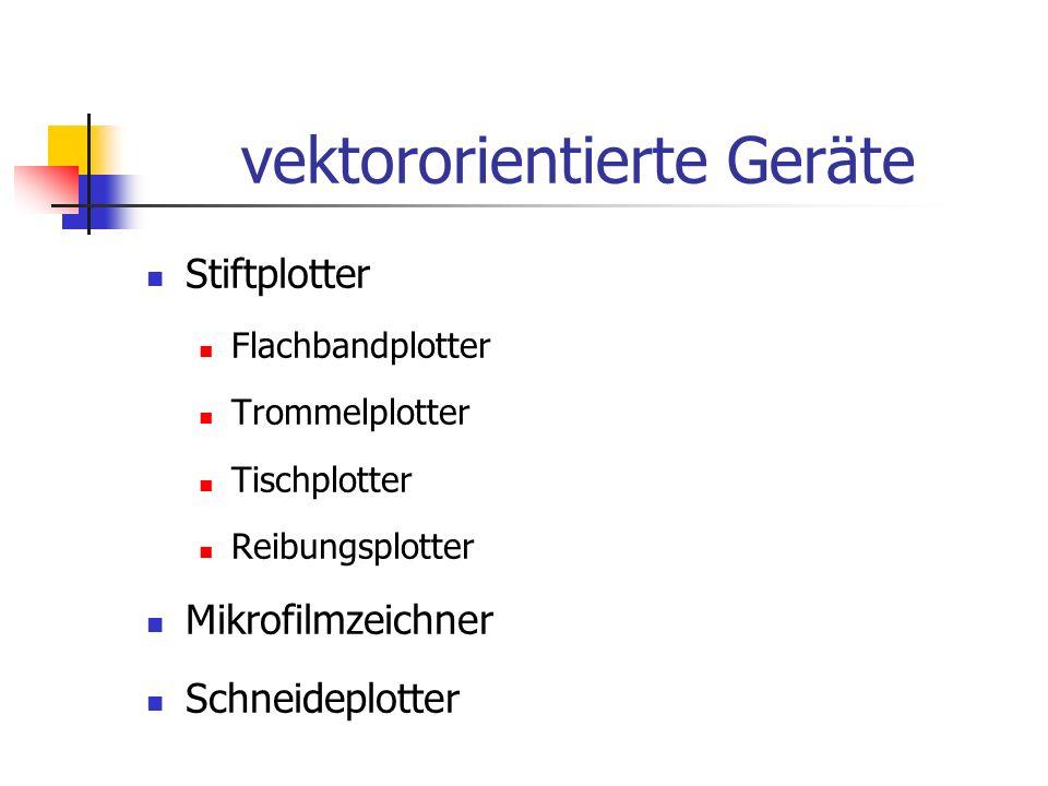 vektororientierte Geräte Stiftplotter Flachbandplotter Trommelplotter Tischplotter Reibungsplotter Mikrofilmzeichner Schneideplotter