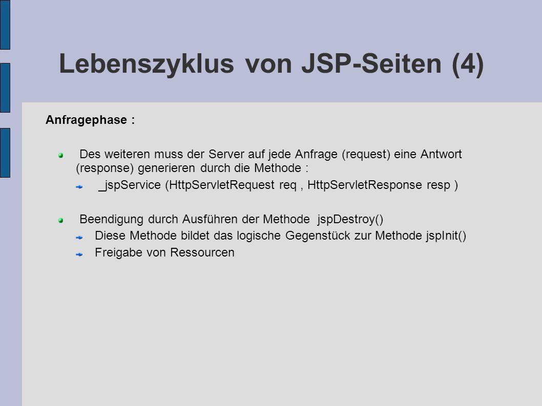 Lebenszyklus von JSP-Seiten (4) Anfragephase : Des weiteren muss der Server auf jede Anfrage (request) eine Antwort (response) generieren durch die Me